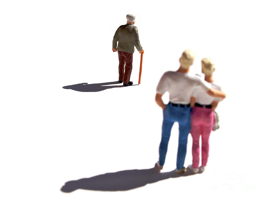 Miniature Figurines Couple Watching Elderly Man Photograph  - Miniature Figurines Couple Watching Elderly Man Fine Art Print