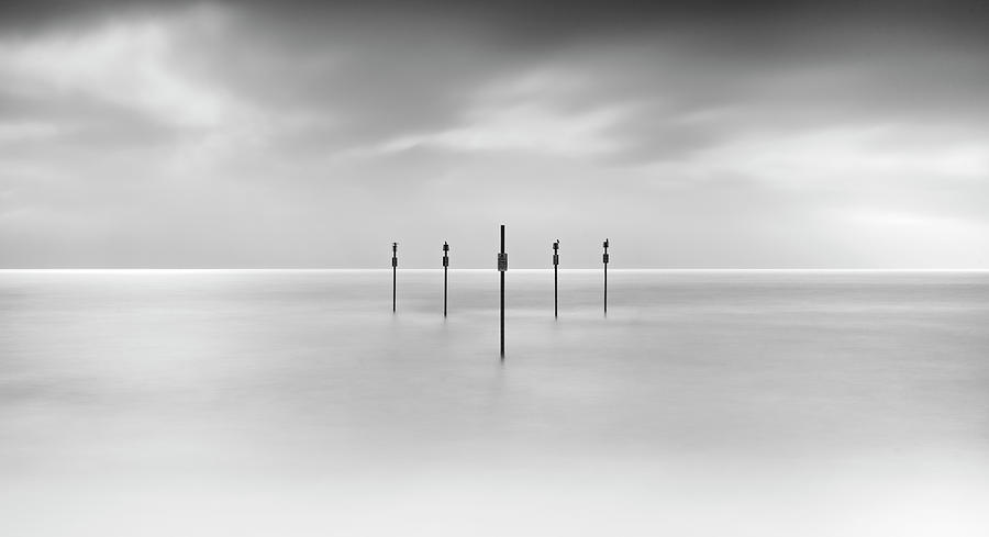 Horizontal Photograph - Minimal Posts Are Arranged Symmetrically In Sea by Doug Chinnery