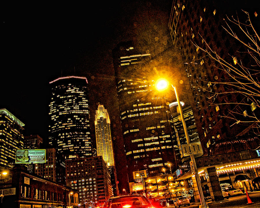 Minneapolis Night Lights Digital Art  - Minneapolis Night Lights Fine Art Print