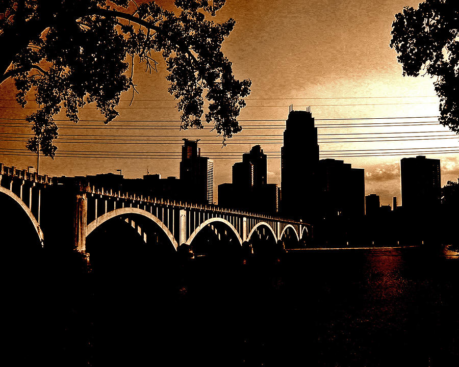 Minneapolis Skyline In Copper Photograph  - Minneapolis Skyline In Copper Fine Art Print