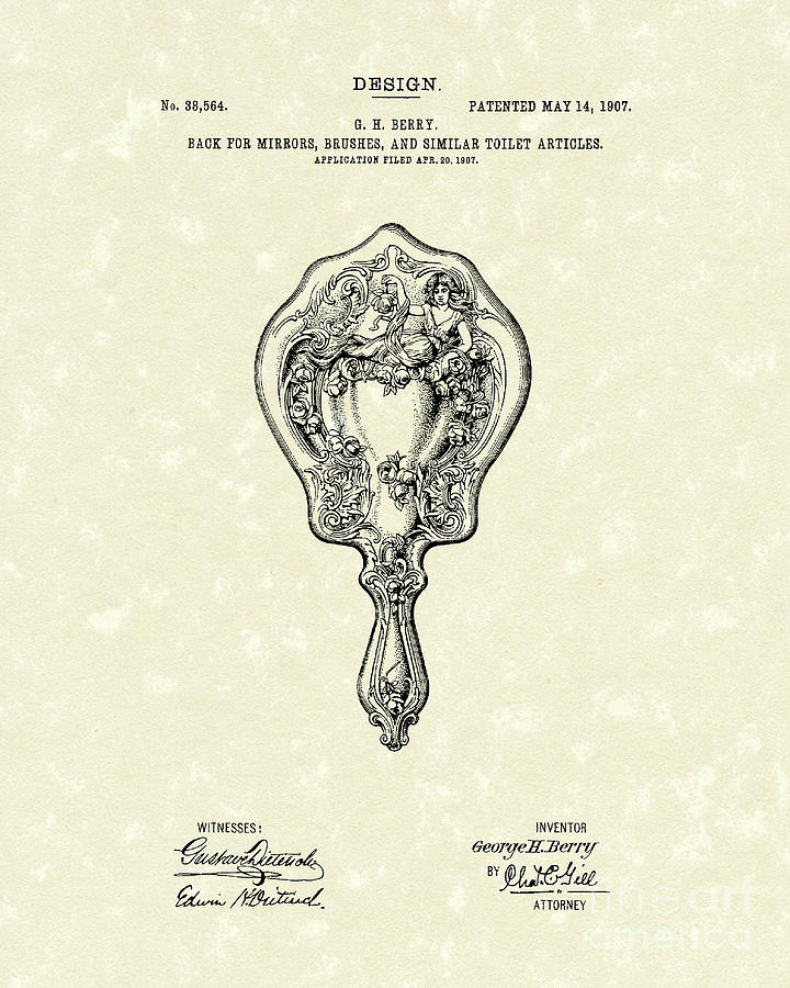 Mirror Back Design I I I 1907 Patent Art  Drawing