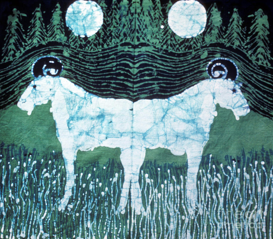 Mirror Image Goats In Moonlight Tapestry - Textile