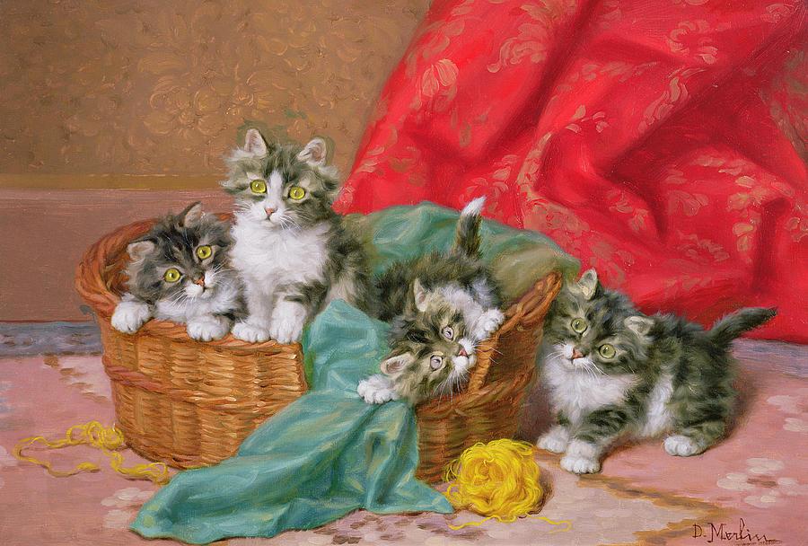 Wicker Basket; Wool Painting - Mischievous Kittens by Daniel Merlin