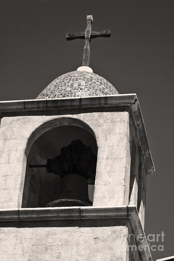 Mission Bell Tower In Black And White Photograph  - Mission Bell Tower In Black And White Fine Art Print