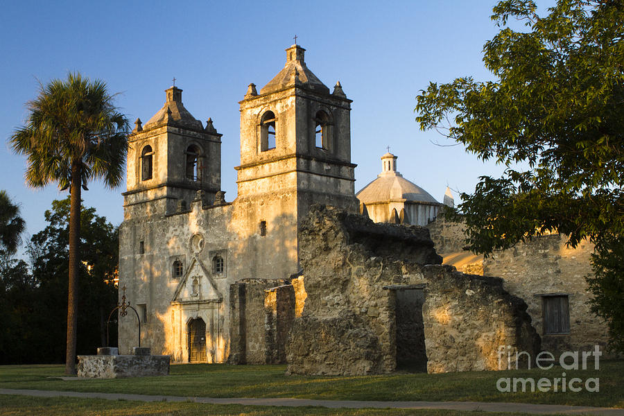 Mission Concepcion In The Evening Photograph  - Mission Concepcion In The Evening Fine Art Print