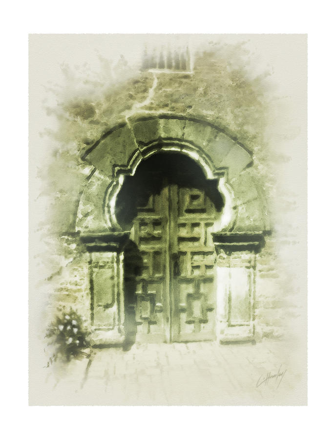 Mission Espada Chapel Door Painting