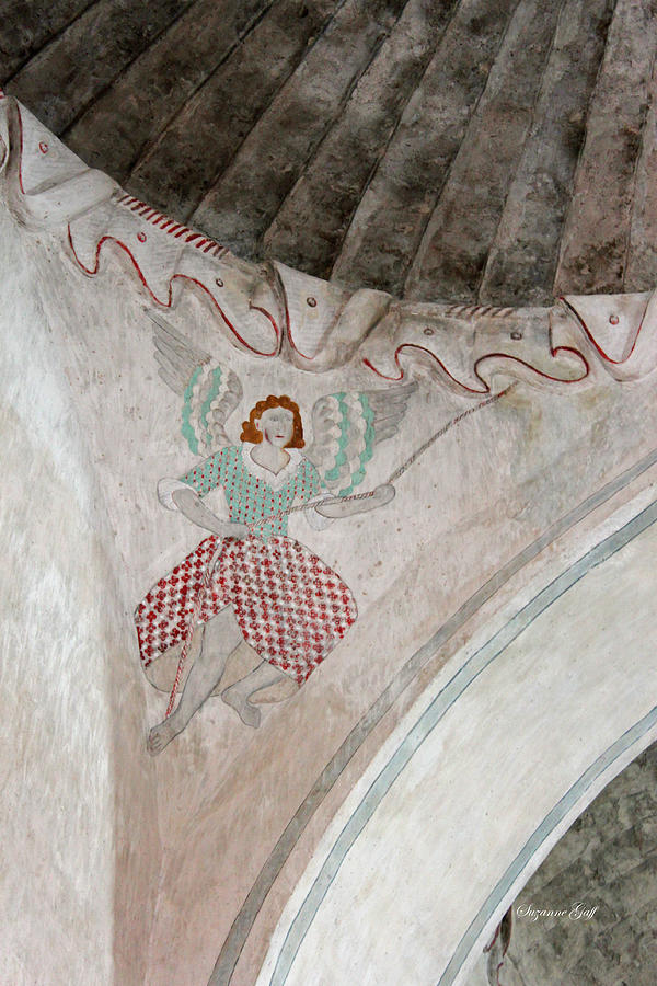 Ceiling Photograph - Mission San Xavier Del Bac - Painting Detail by Suzanne Gaff