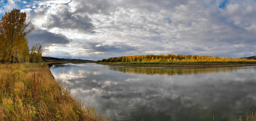 Missouri River Autumn Panoramic Photograph  - Missouri River Autumn Panoramic Fine Art Print