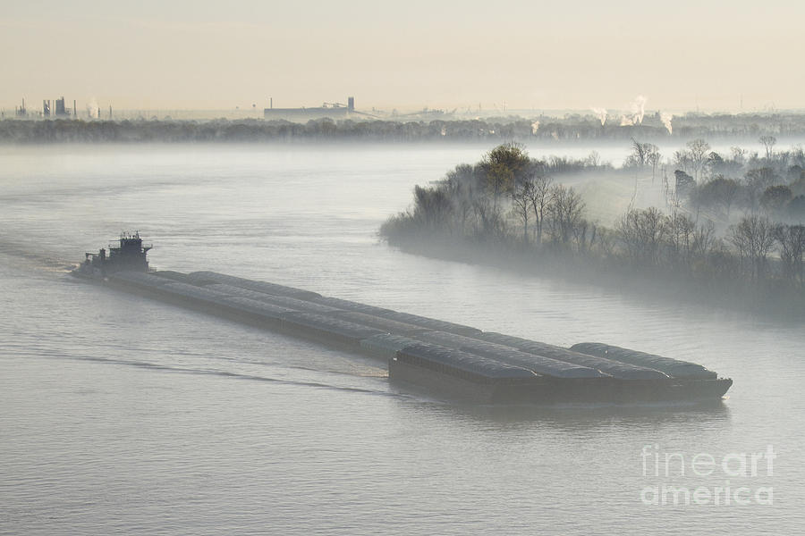 Mist Shrouded River And Tugboat Photograph