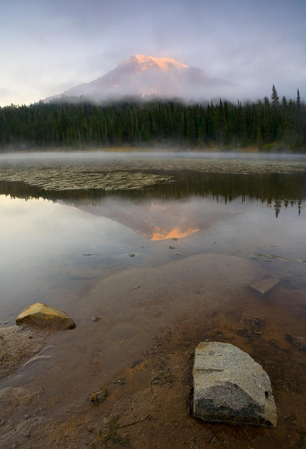 Misty Alpenglow Photograph