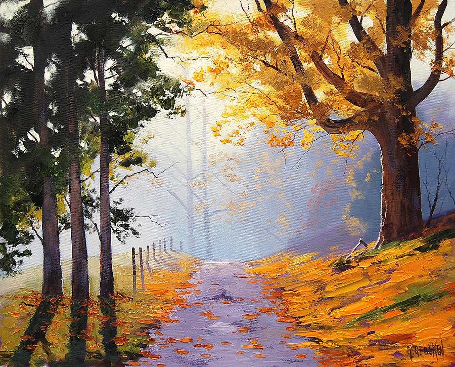 Misty Autumn Painting Painting