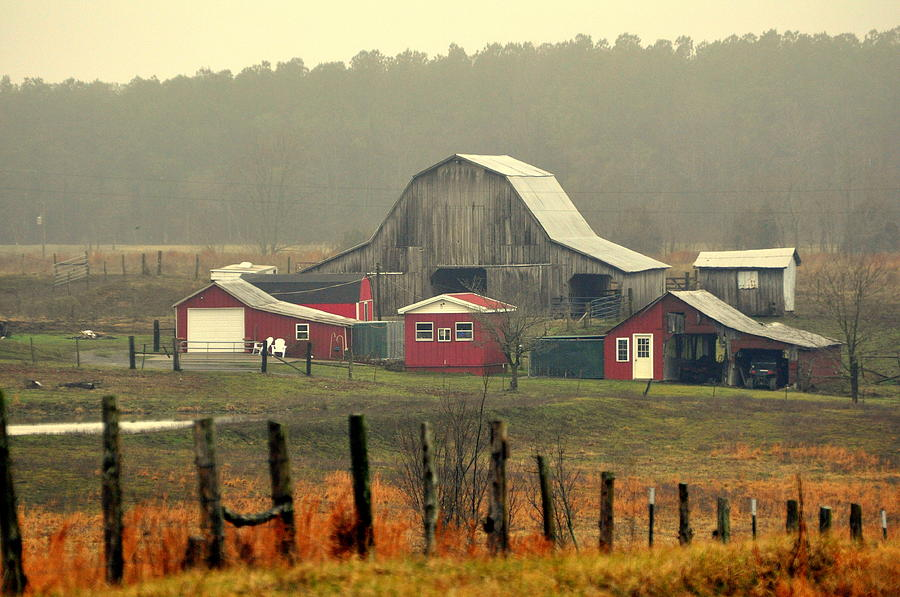 Misty Barn Photograph