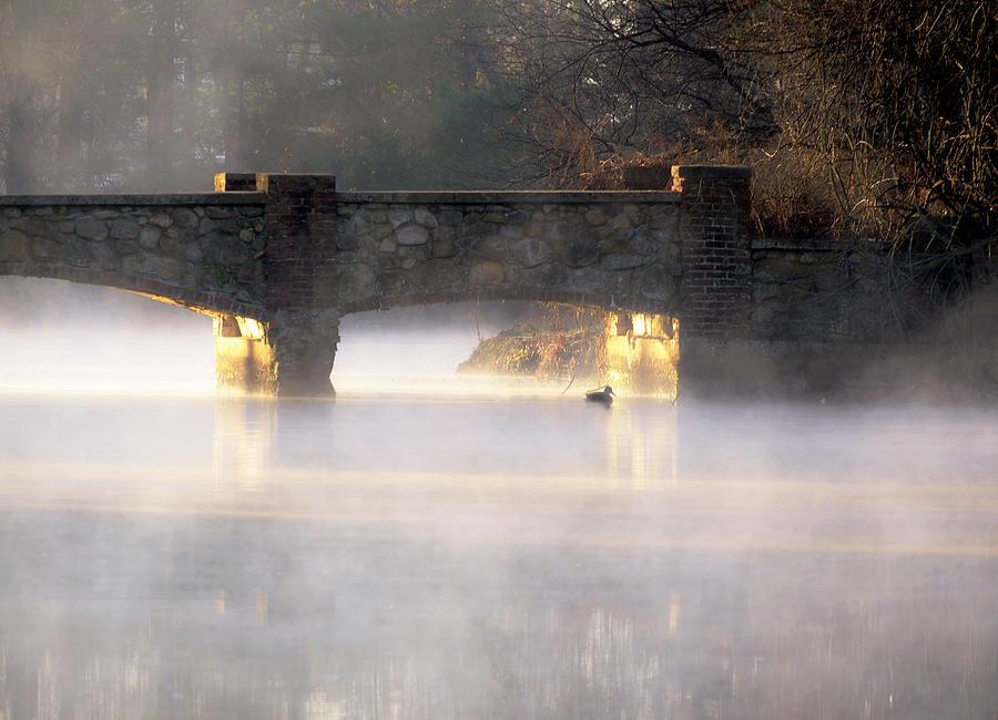 Sunrise Photograph - Misty Bridge Sunrise by Vicki Jauron
