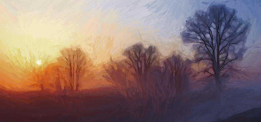 Mist Misty Fog Dawn Dusk Sun Sunset Sunrise Sunlight Color Colorful Tree Trees Nature Landscape Cloud Sky Warm Abstract Expressionism Impressionism  Painting - Misty Dawn by Stefan Kuhn