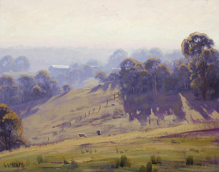 Misty Morning Cottles Bridge Painting