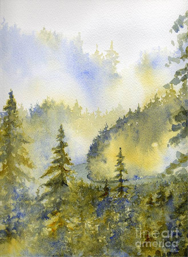 Misty Mountain Morning Painting  - Misty Mountain Morning Fine Art Print