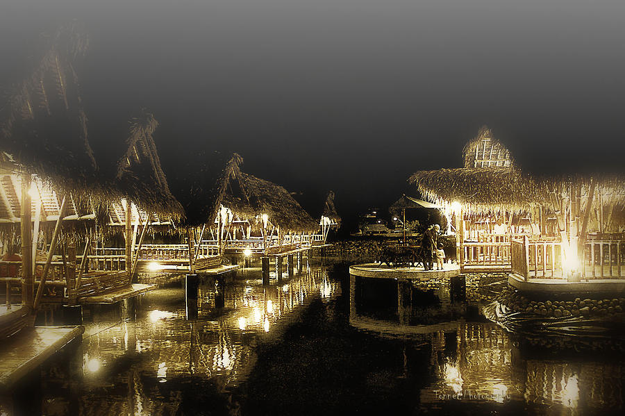 Misty Nightshot At Bamboo Floating Huts Photograph  - Misty Nightshot At Bamboo Floating Huts Fine Art Print