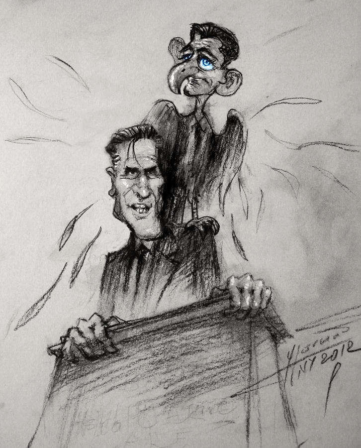 Mitt Romney And His Flying Mate Drawing  - Mitt Romney And His Flying Mate Fine Art Print