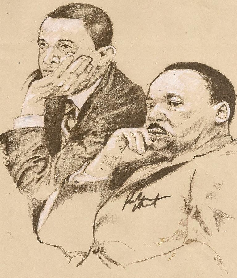 Mlk Jr And Obama Drawing  - Mlk Jr And Obama Fine Art Print