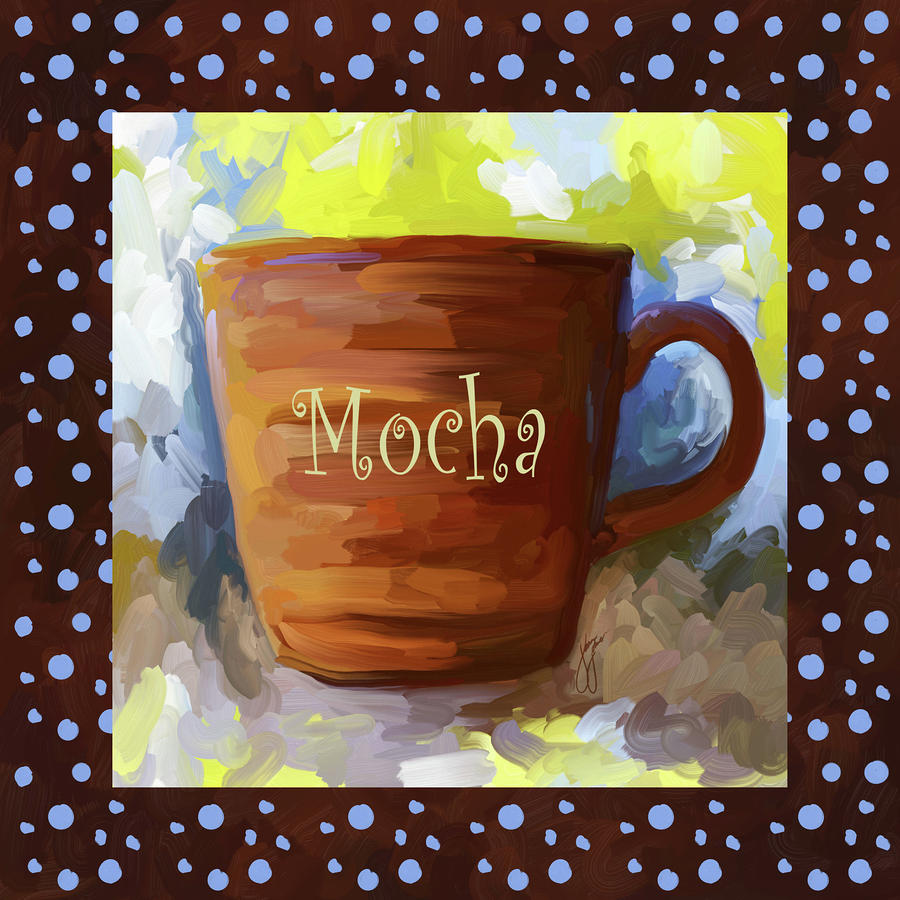 Mocha Coffee Cup With Blue Dots Painting  - Mocha Coffee Cup With Blue Dots Fine Art Print