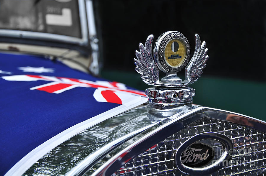 Model A Ford - Hood Ornament And Badge Photograph