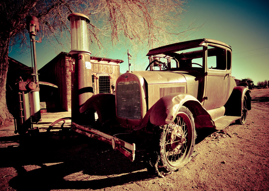 Model T With Old Fuel Pump Photograph  - Model T With Old Fuel Pump Fine Art Print
