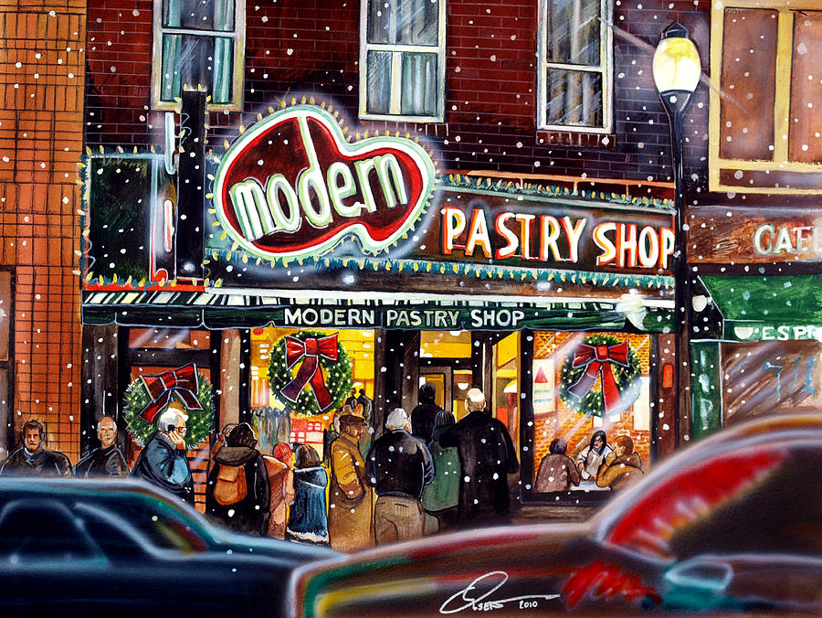 Modern Pastry Of Boston At Christmas Painting