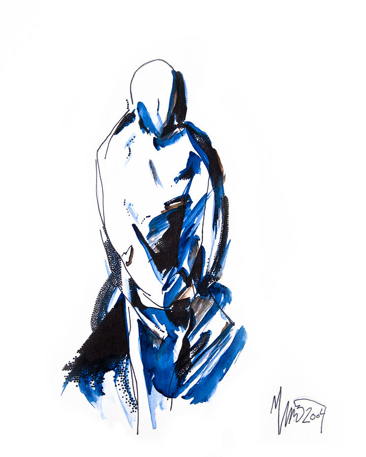 Modest Blue Brown Figure Painting  - Modest Blue Brown Figure Fine Art Print