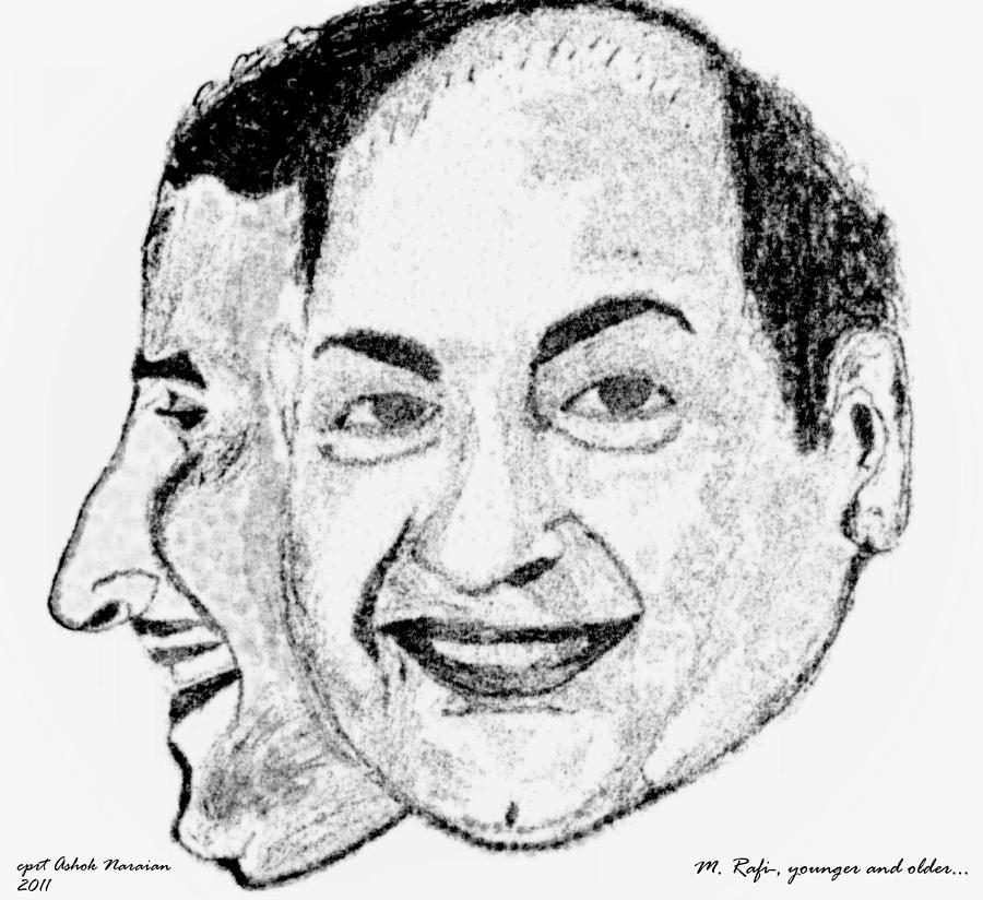 Mohammed Rafi Drawing - Mohammed Rafi Sketch Younger And Older by Ashok Naraian