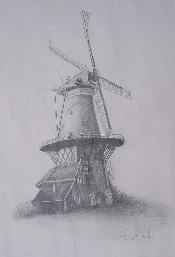 Molen Near Delft Holland Drawing
