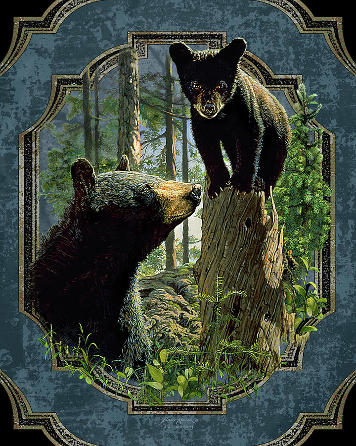 Mom And Cub Bear Painting
