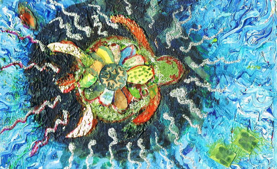 Mom There Is A Turtle In The Swimming Pool II Painting  - Mom There Is A Turtle In The Swimming Pool II Fine Art Print