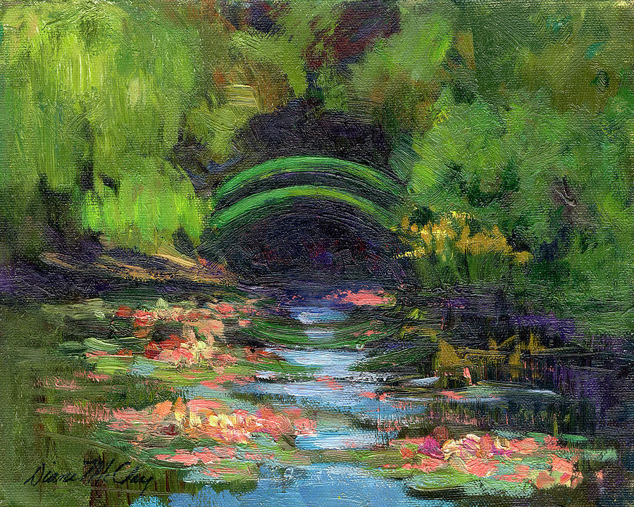Momet 39 s water lily garden toward evening painting by diane for Garden painting images