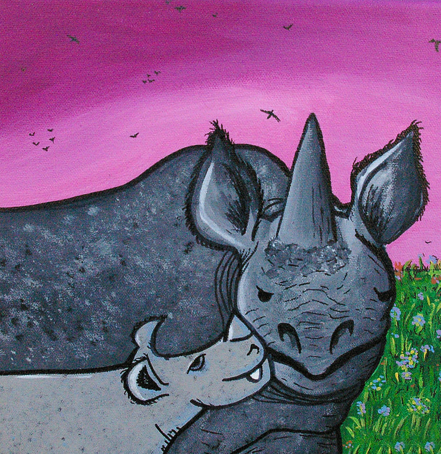 Momma And Baby Rhino Painting  - Momma And Baby Rhino Fine Art Print