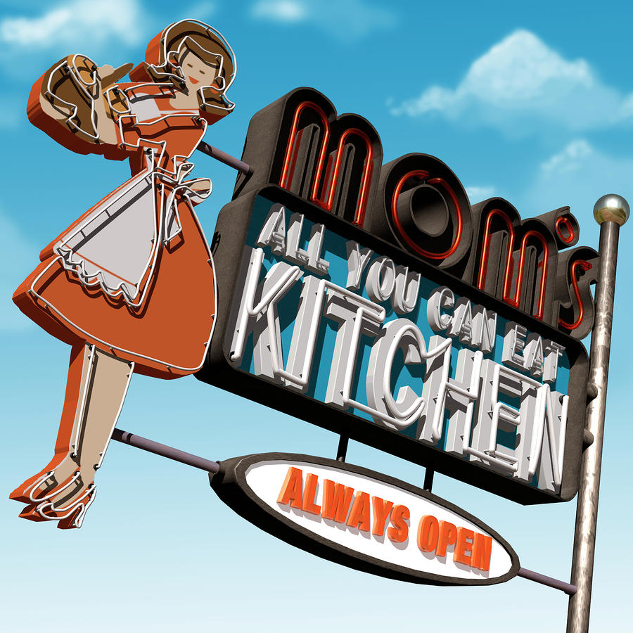 Moms Diner Digital Art  - Moms Diner Fine Art Print