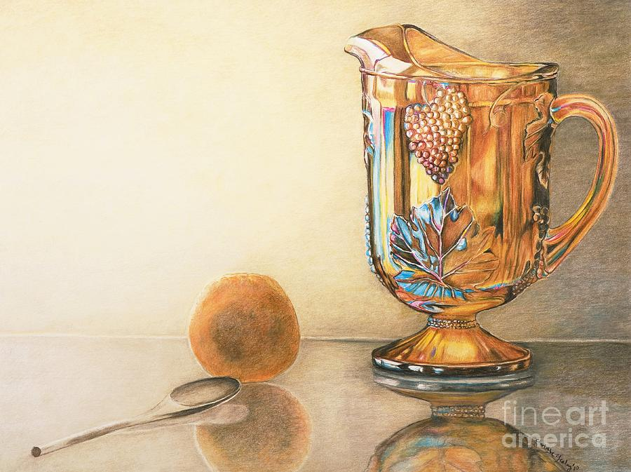 Moms Orange Juice Pitcher Drawing  - Moms Orange Juice Pitcher Fine Art Print