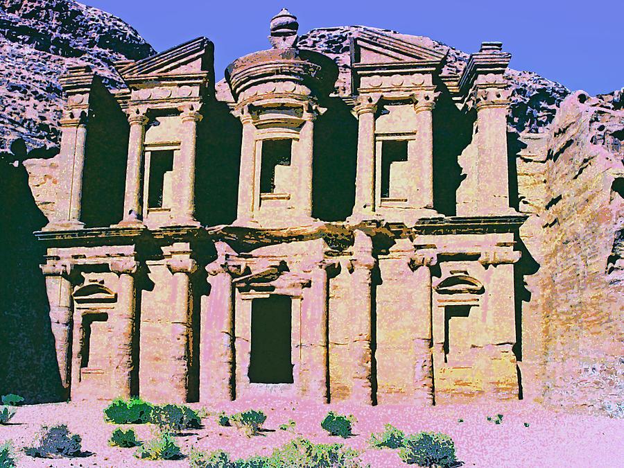 Monastery At Petra Mixed Media