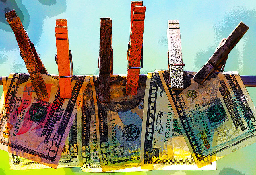 Money Laundering  Digital Art  - Money Laundering  Fine Art Print