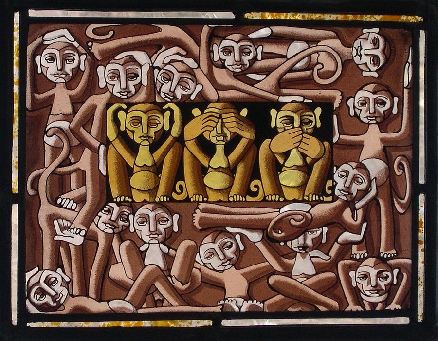 Monkeys Glass Art