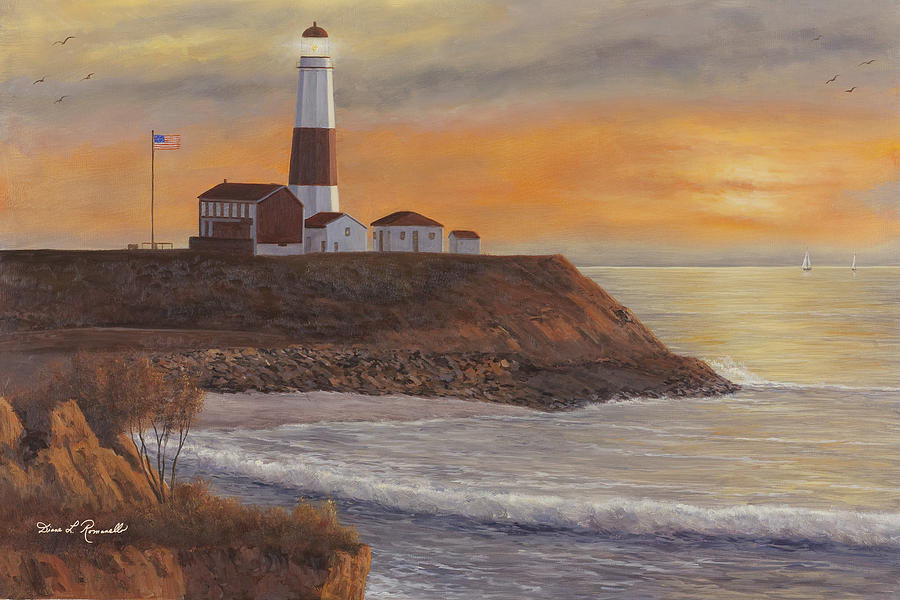 Monntauk Lighthouse Sunset Painting  - Monntauk Lighthouse Sunset Fine Art Print