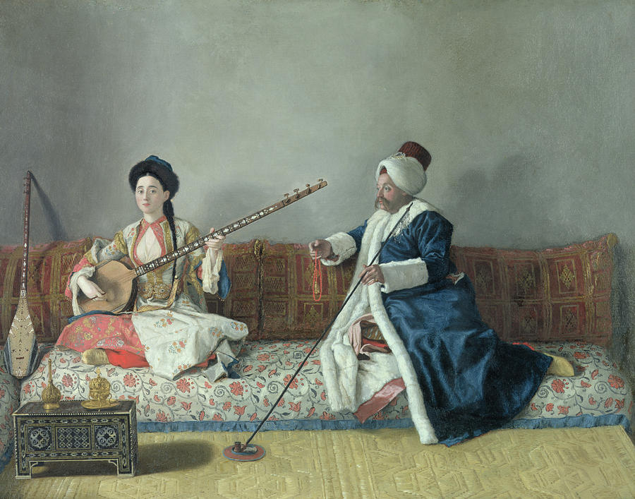 Monsieur Levett And Mademoiselle Helene Glavany In Turkish Costumes Painting