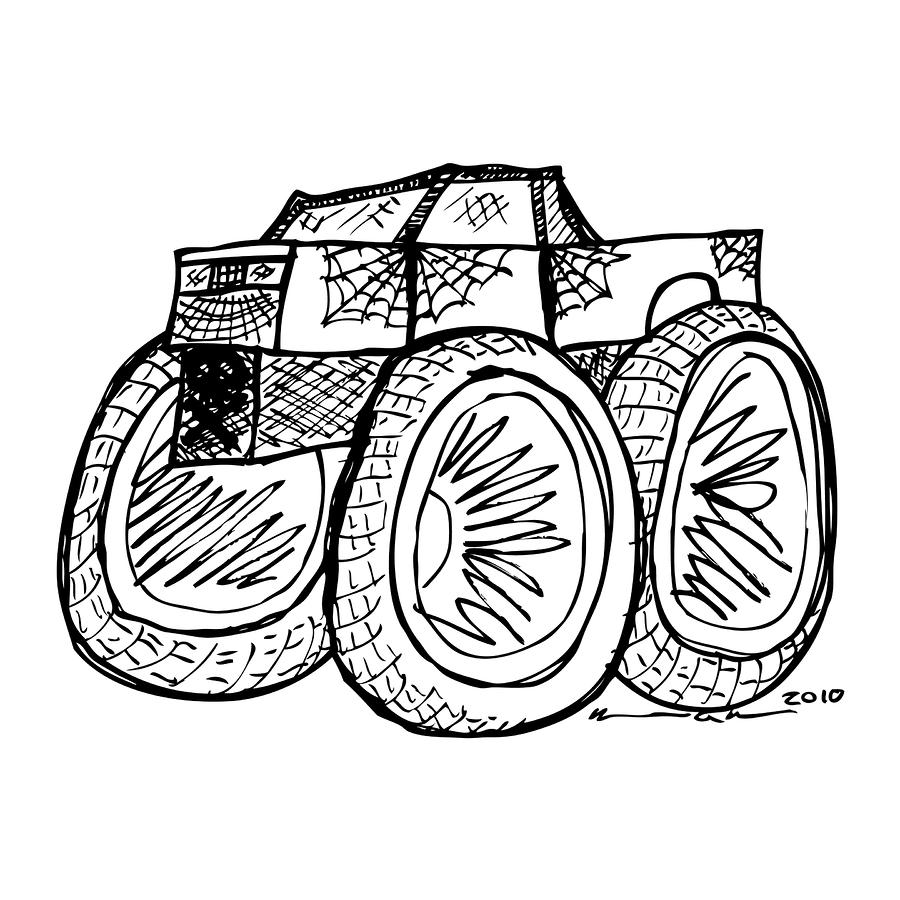 Monster Truck Drawing  - Monster Truck Fine Art Print