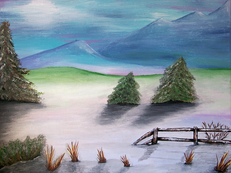 Montana Winter Painting  - Montana Winter Fine Art Print