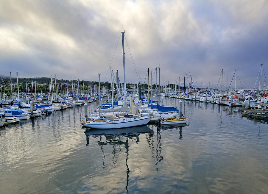 Blue Photograph - Monterey Harbor Marina - California by Brendan Reals