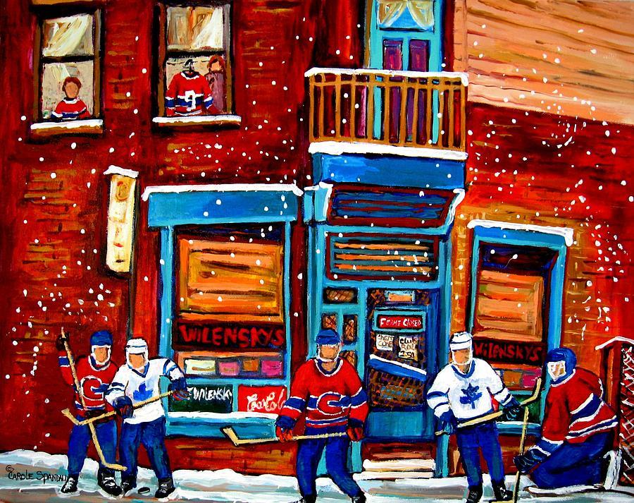Montreal Wilensky Deli By Carole Spandau Montreal Streetscene And Hockey Artist Painting