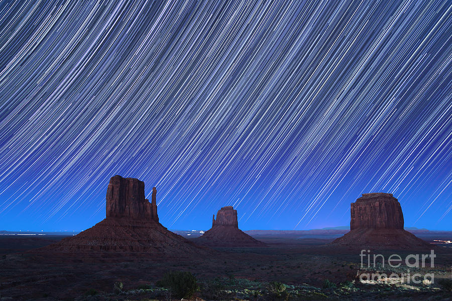 Abstract Photograph - Monument Valley Star Trails 1 by Jane Rix