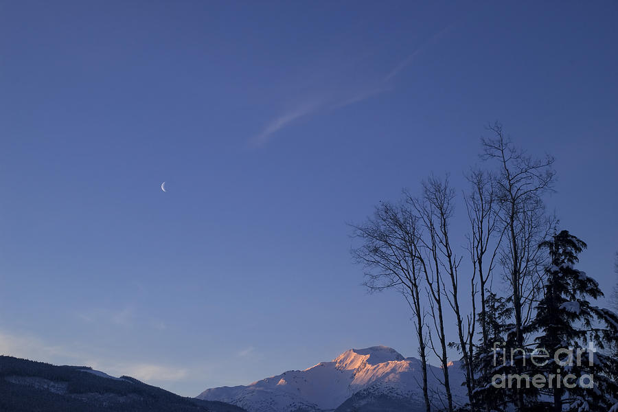 Moon And Alpenglow Photograph