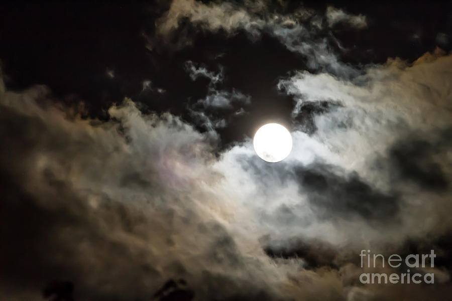 Moon And Clouds 1 Photograph  - Moon And Clouds 1 Fine Art Print