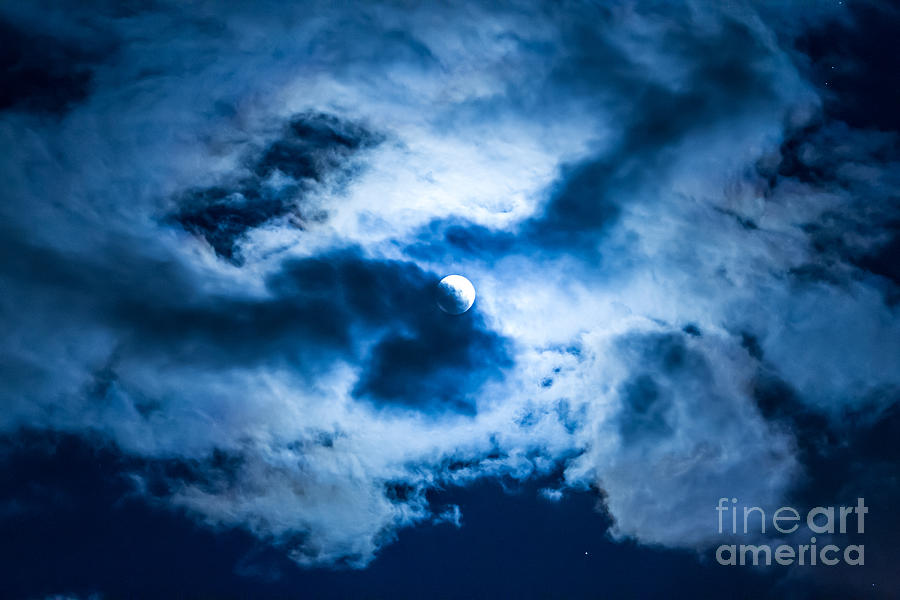 Moon And Clouds 3 Photograph  - Moon And Clouds 3 Fine Art Print