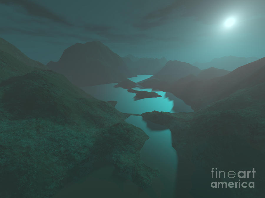 Moon Light At The Mountains Digital Art